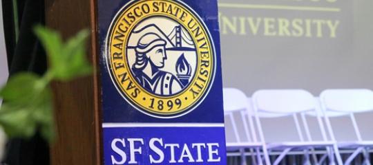 SF State stage and speaking podium